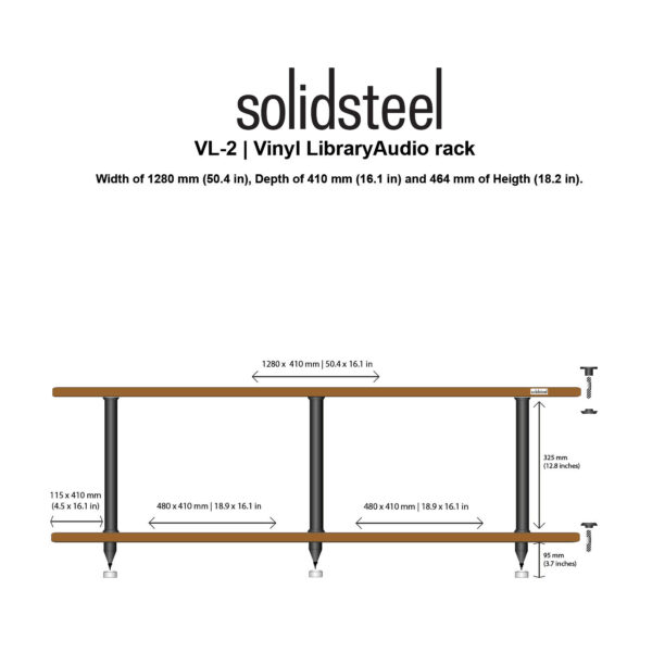 Solidsteel VL-2 Vinyl Library Rack 2-Shelf Walnut